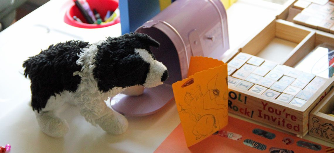 The mailbox game helps your child engage in writing and reading